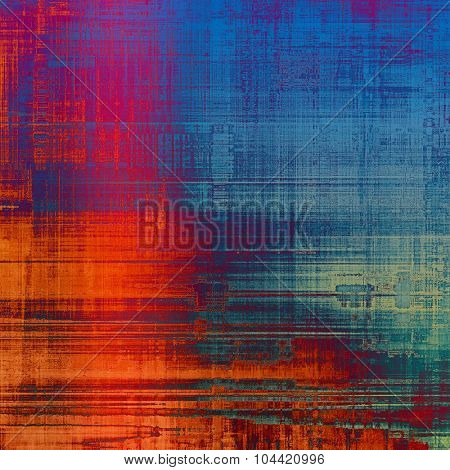 Old-style background, aging texture. With different color patterns: blue; red (orange); purple (violet); cyan