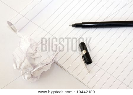 Block note and pen