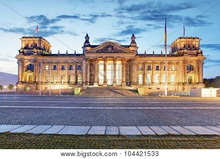 Berlin Reichstag. Image Of Illuminated Reichstag Building In Berlin, Germany.