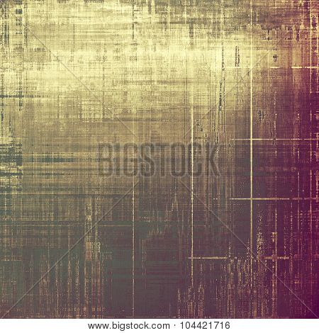 Grunge texture with decorative elements and different color patterns: yellow (beige); brown; purple (violet); gray