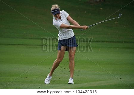 KUALA LUMPUR, MALAYSIA - OCTOBER 09, 2015: USA's Ryan O'Toole hits from the 6th hole fairway at the KL Golf & Country Club at the 2015 Sime Darby LPGA Malaysia golf tournament.