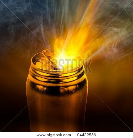Beam Of Fire Blaze Burst Out From Internal Can