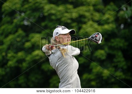 KUALA LUMPUR, MALAYSIA - OCTOBER 10, 2015: USA's Jessica Korda tees off at the sixth hole of the KL Golf & Country Club on Round 3 day at the 2015 Sime Darby LPGA Malaysia golf tournament.