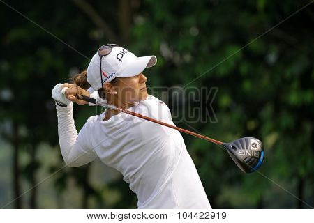 KUALA LUMPUR, MALAYSIA - OCTOBER 10, 2015: Spain's Azahara Munoz tees off at the sixth hole of the KL Golf & Country Club on Round 3 day at the 2015 Sime Darby LPGA Malaysia golf tournament.