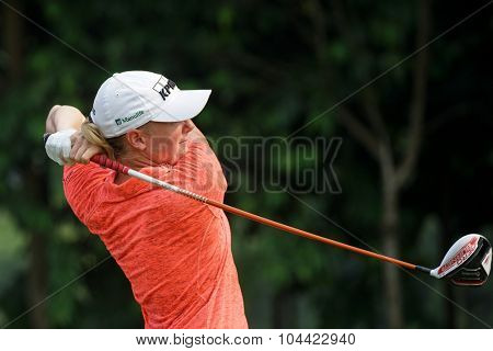 KUALA LUMPUR, MALAYSIA - OCTOBER 10, 2015: USA's Stacy Lewis tees off at the sixth hole of the KL Golf & Country Club on Round 3 day at the 2015 Sime Darby LPGA Malaysia golf tournament.
