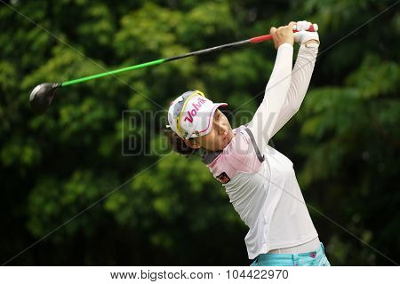 KUALA LUMPUR, MALAYSIA - OCTOBER 10, 2015: South Korea's Chella Choi tees off at the sixth hole of the KL Golf & Country Club on Round 3 day at the 2015 Sime Darby LPGA Malaysia golf tournament.