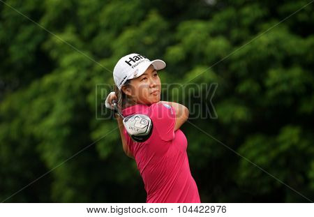 KUALA LUMPUR, MALAYSIA - OCTOBER 10, 2015:Australia's Minjee Lee tees off at the sixth hole of the KL Golf & Country Club on Round 3 day at the 2015 Sime Darby LPGA Malaysia golf tournament.