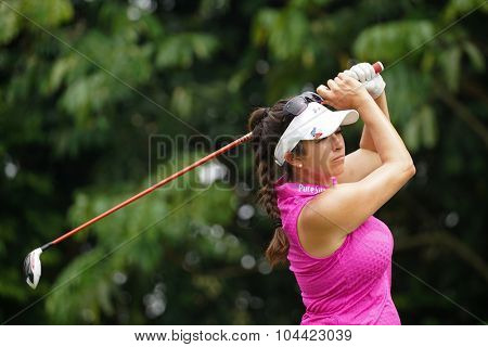 KUALA LUMPUR, MALAYSIA - OCTOBER 10, 2015: USA's Gerina Piller tees off at the sixth hole of the KL Golf & Country Club on Round 3 day at the 2015 Sime Darby LPGA Malaysia golf tournament.