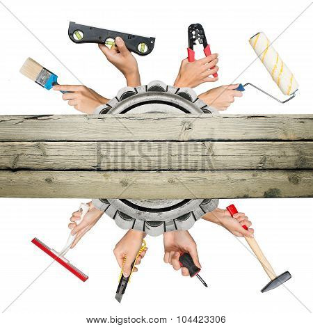 Humans hands holding tools