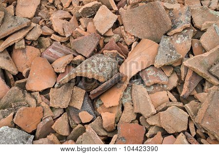 Pile Of Old Broken Roofing Tiles