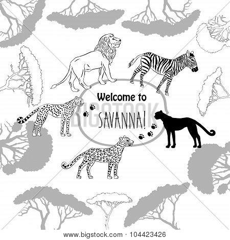 Background with savanna animal