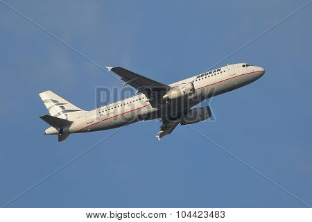 BUDAPEST, HUNGARY - JULY 4: Airliner of Aegean Airlines is departing from Budapest, July 4th 2015.