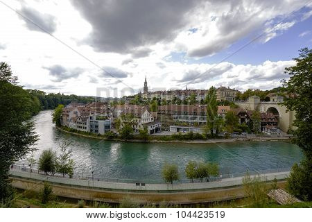 Cityscape View Of The City And The River Aare