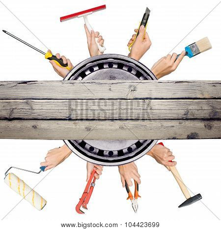 Humans hands holding tools on white background