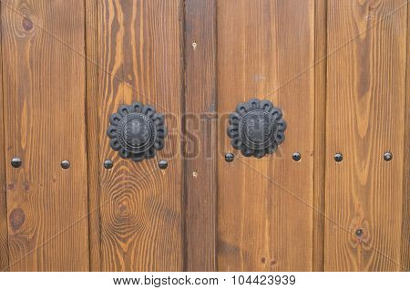 New Wooden Door With Decoratice Black Doorknob