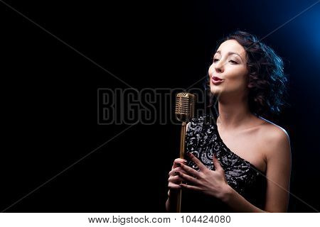 Beautiful Girl Singer Singing Emotional Song With Retro Microphone