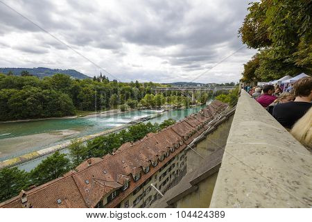 The River Aare Flows Through The City Of Bern