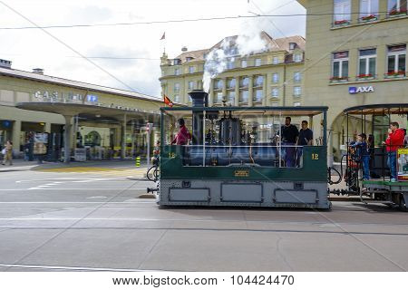 The Steam Tram Rides On City Rails In Bern
