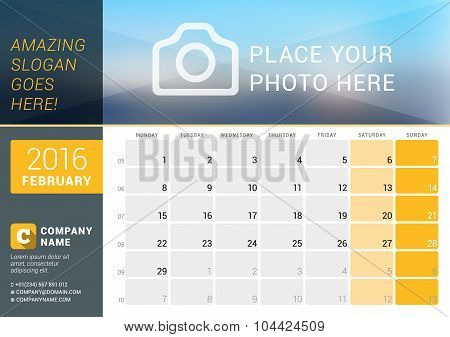 February 2016. Desk Calendar For 2016 Year. Vector Design Print Template With Place For Photo, Logo