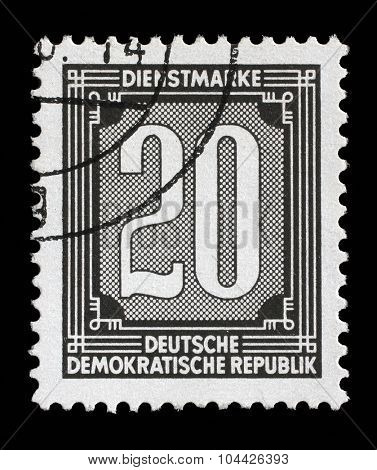 GERMAN DEMOCRATIC REPUBLIC - CIRCA 1956: A stamp printed in GDR shows numeric value, circa 1956.