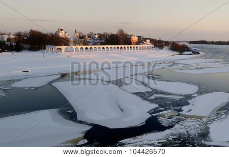 View of Yaroslav Court On Winter Sunset, Veliky Novgorod, Russia