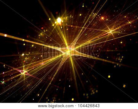 Shiny Gold Star With Particles In Space