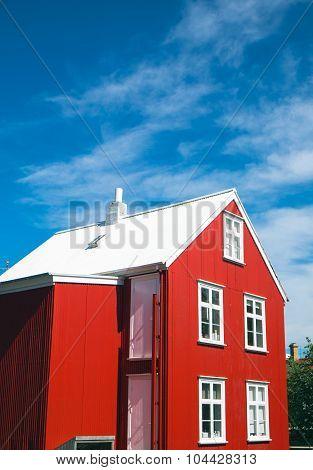 Red house in Reykjavik