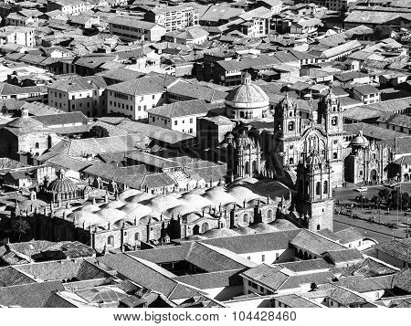 Aerial view of Cusco Cathedral