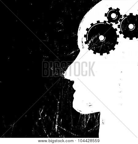 Gear in head pictogram. Solution or imagination or engineering concept. Grunge styled. Vector illustration.