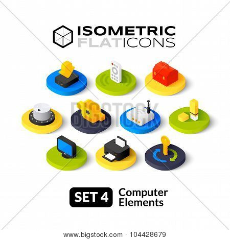 Isometric flat icons set 4