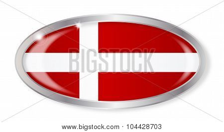 Danish Flag Oval Button