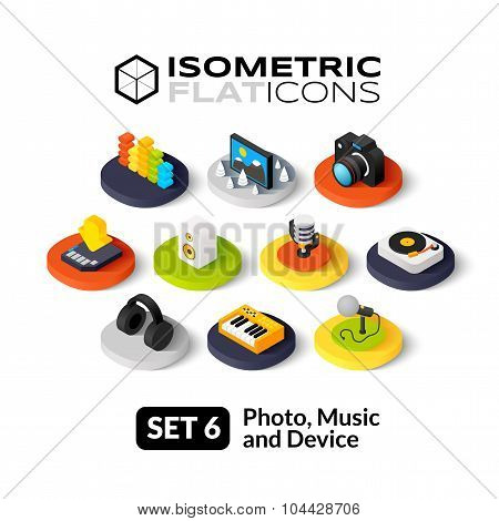 Isometric flat icons set 6