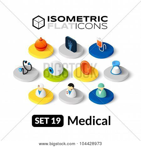 Isometric flat icons set 19