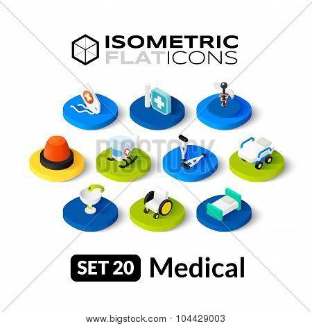 Isometric flat icons set 20