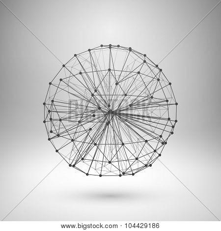 Wireframe mesh polygonal sphere.