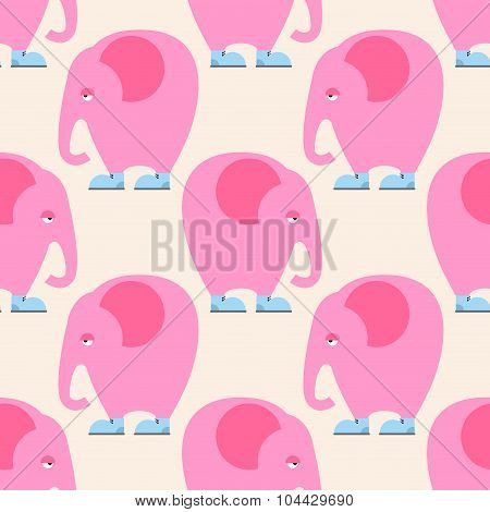 Pink Elephant Seamless Pattern. Background Of Circus Animal With Trunk. Fantastic Beast In Blue Boot