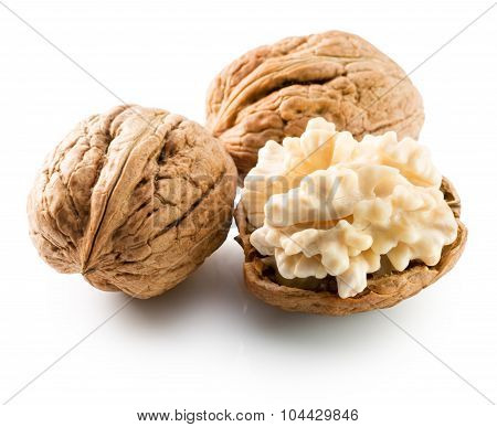 Walnuts With Nucleus Isolated On The White Background