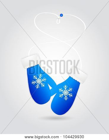 Vector illustration pair of blue christmas mittens.