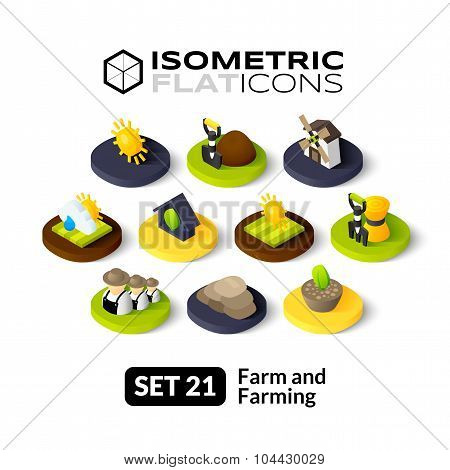Isometric flat icons set 21