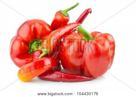 Chilly Pepper With Sweet Pepper Isolated On The White Background