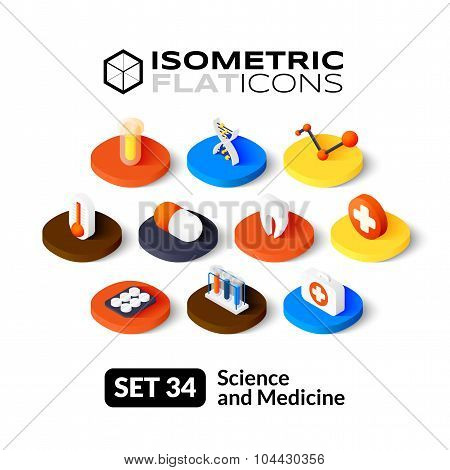 Isometric flat icons set 34