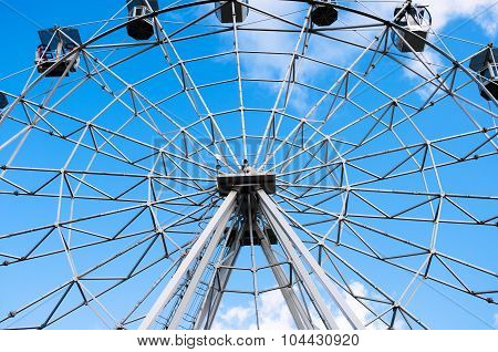Metal Construction Of Ferris Wheel Close Up