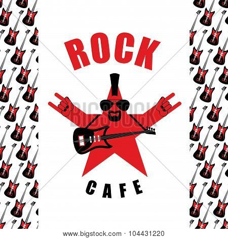 Rock Cafe. Logo Template For Music Rock Bar. Star With Electro Guitar And Rock Hand Sign.