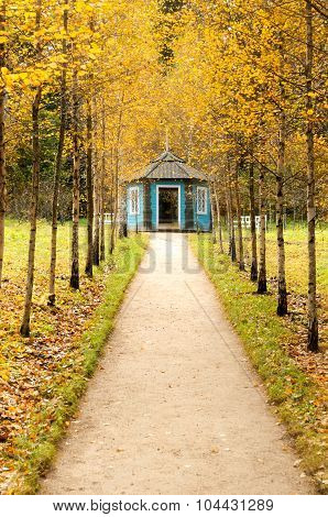 Blue Wooden Gazebo At The Intersection Of The Tracks In The Park Of Museum Estate Mikhailovskoe, Sof