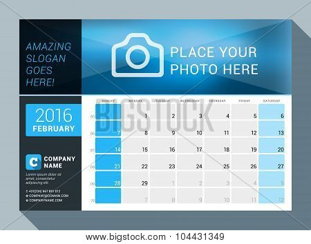 February 2016. Vector Design Print Calendar Template For 2016 Year. Place For Photo, Logo And Contac