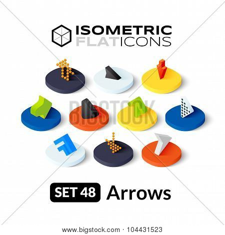 Isometric flat icons set 48