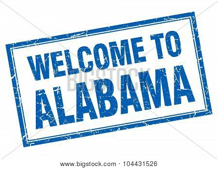 Alabama Blue Square Grunge Welcome Isolated Stamp