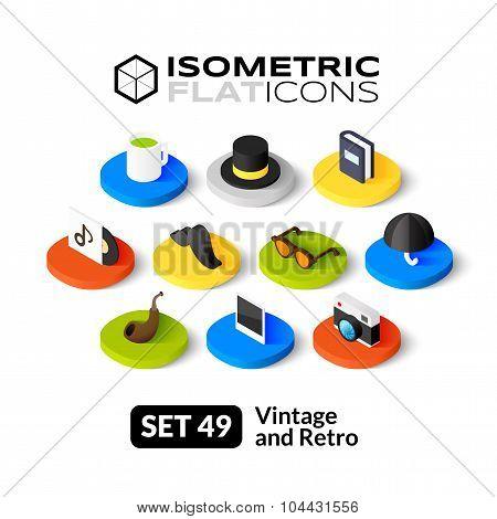 Isometric flat icons set 49