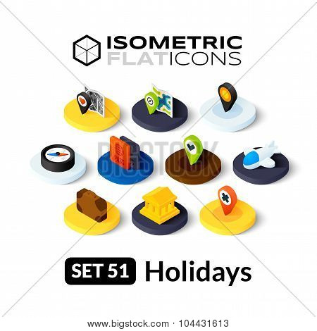 Isometric flat icons set 51