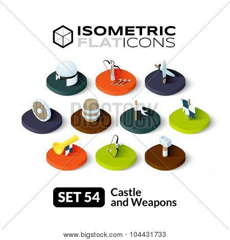 Isometric flat icons set 54